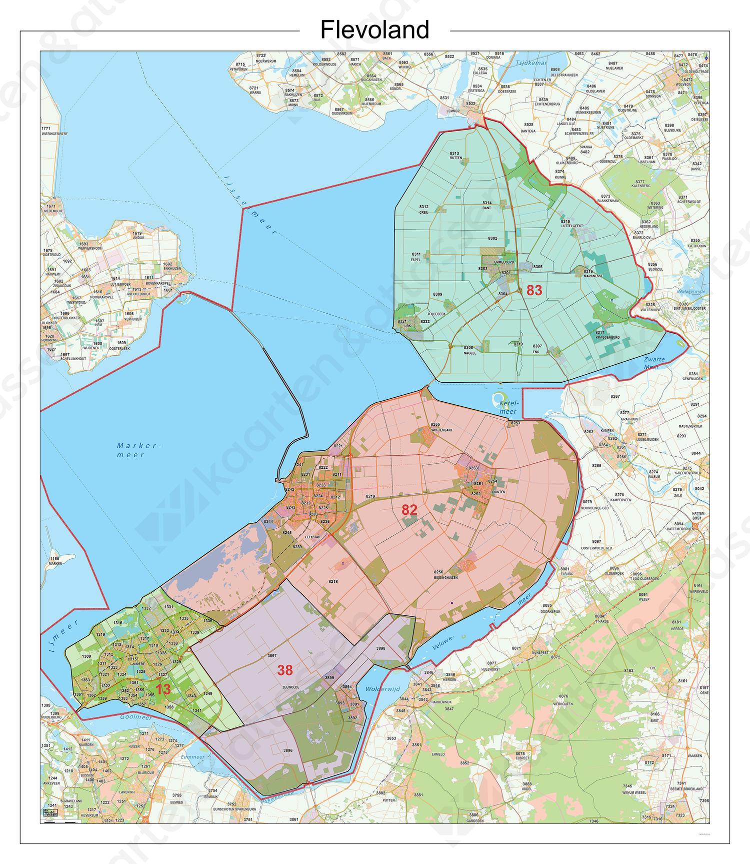 Digitale Postcodekaart Provincie Flevoland