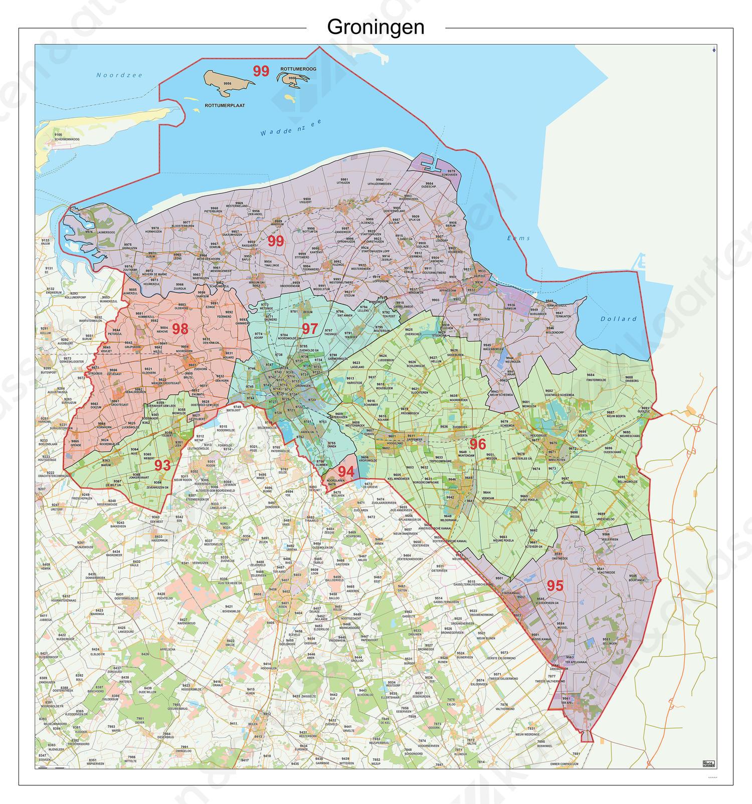 Postcodekaart Provincie Groningen