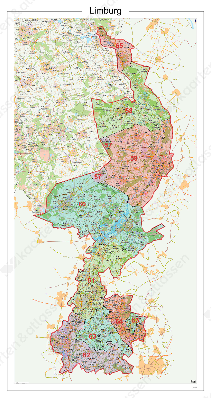 Postcodekaart Provincie Limburg