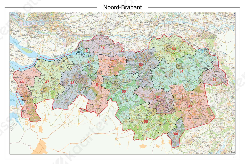 Digitale Postcodekaart Provincie Noord-Brabant