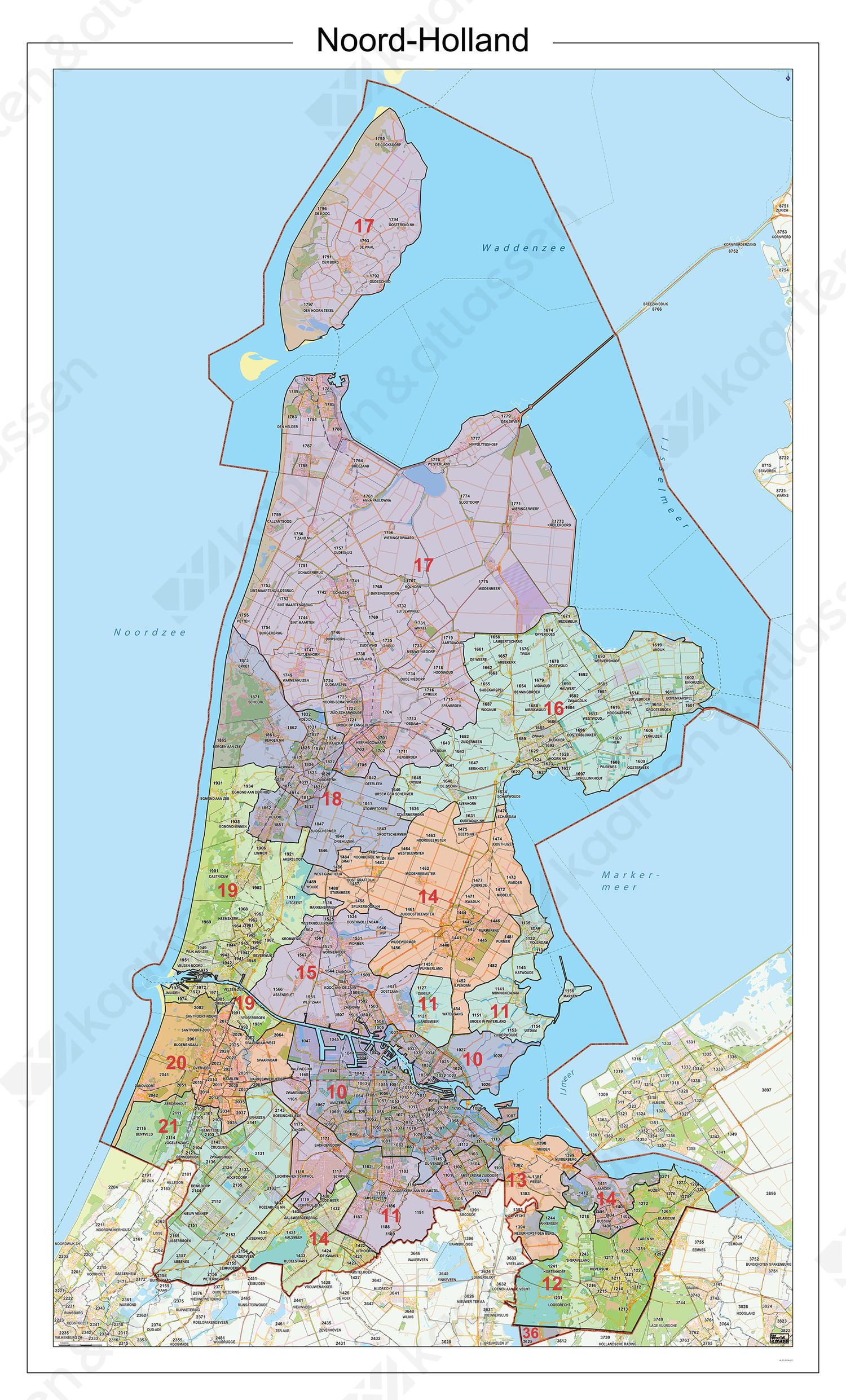 Postcodekaart Provincie Noord-Holland