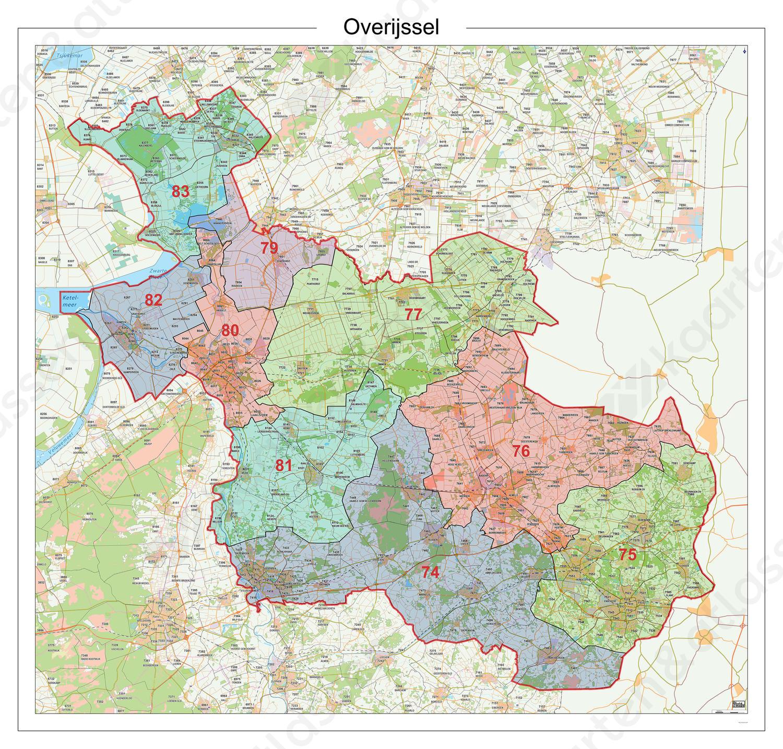 kaart van overijssel Postcodekaart Provincie Overijssel 610 | Kaarten en Atlassen.nl