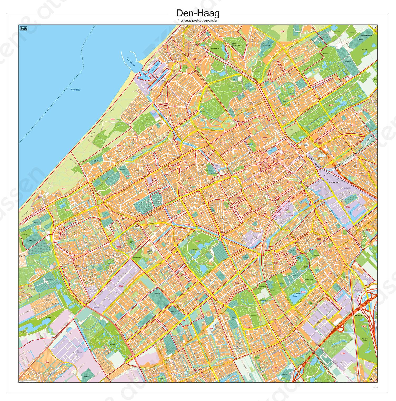 Postcodekaart Den Haag 104 Kaarten En Atlassen Nl