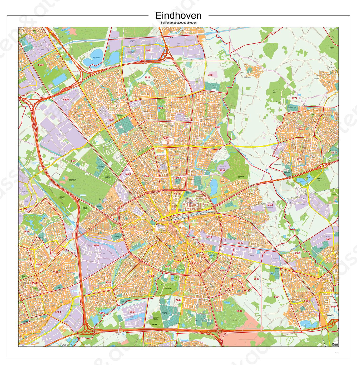 Postcodekaart Eindhoven 102   Kaarten en Atlassen nl