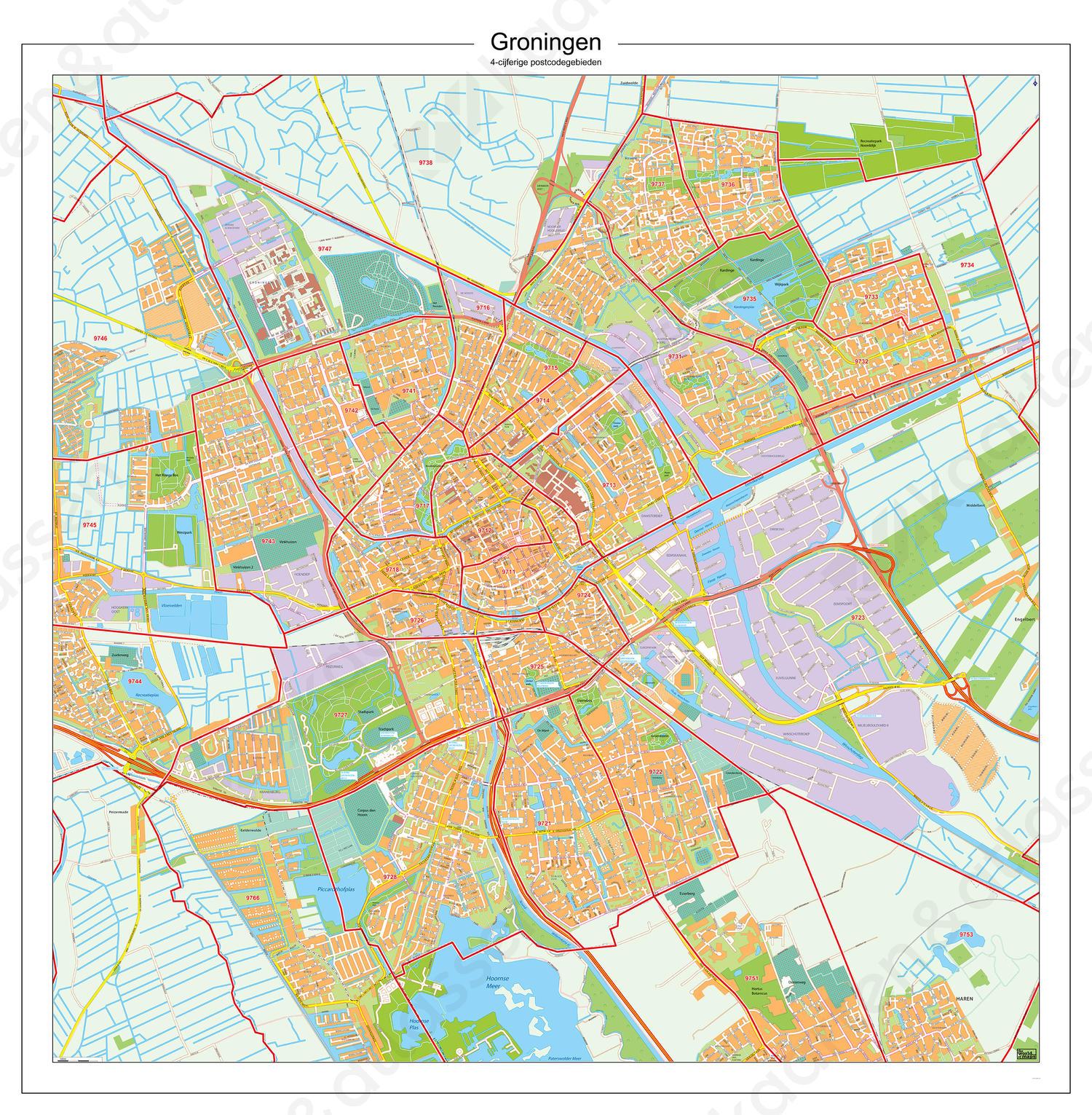 Postcodekaart Groningen