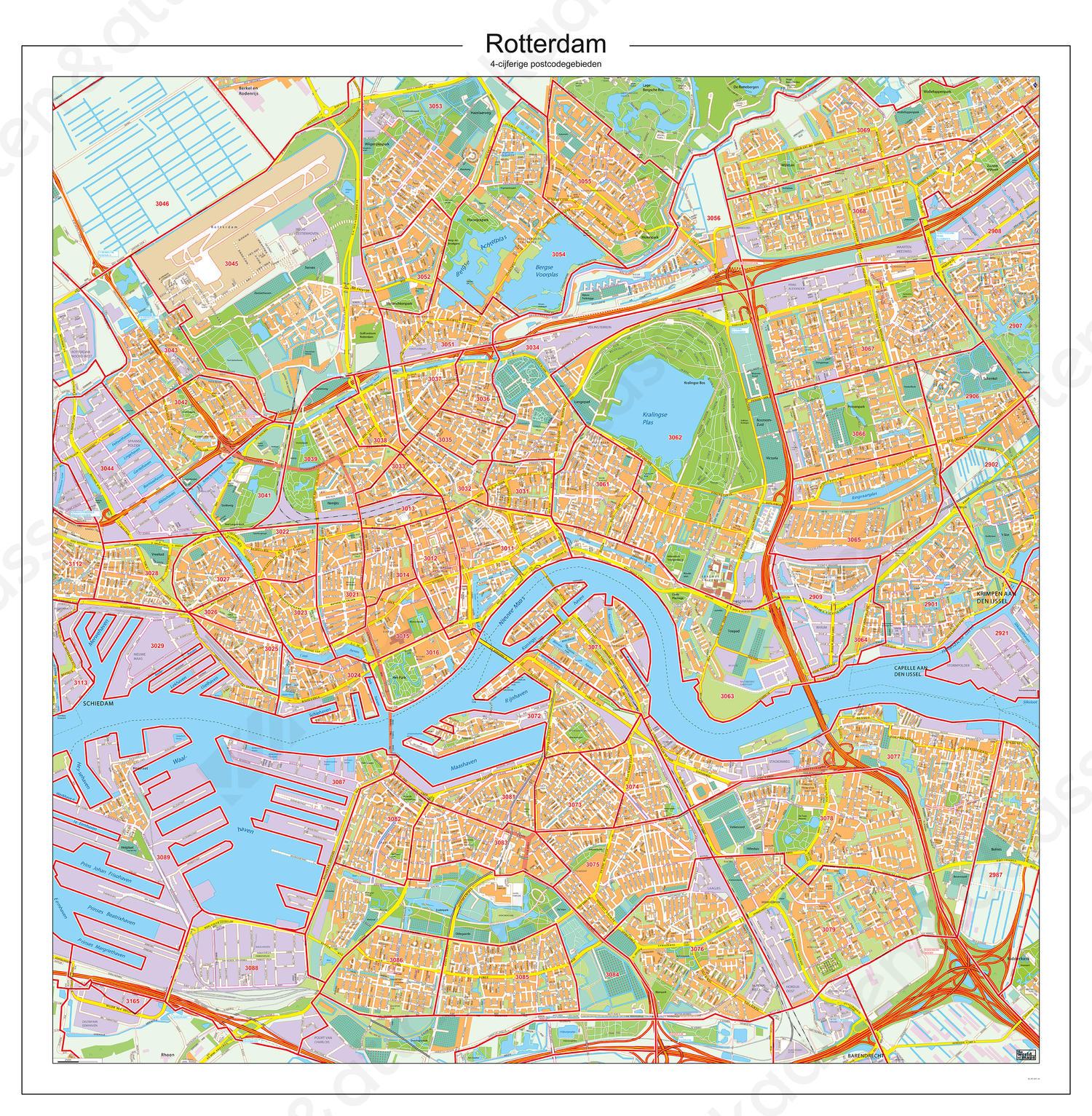 Postcodekaart Rotterdam