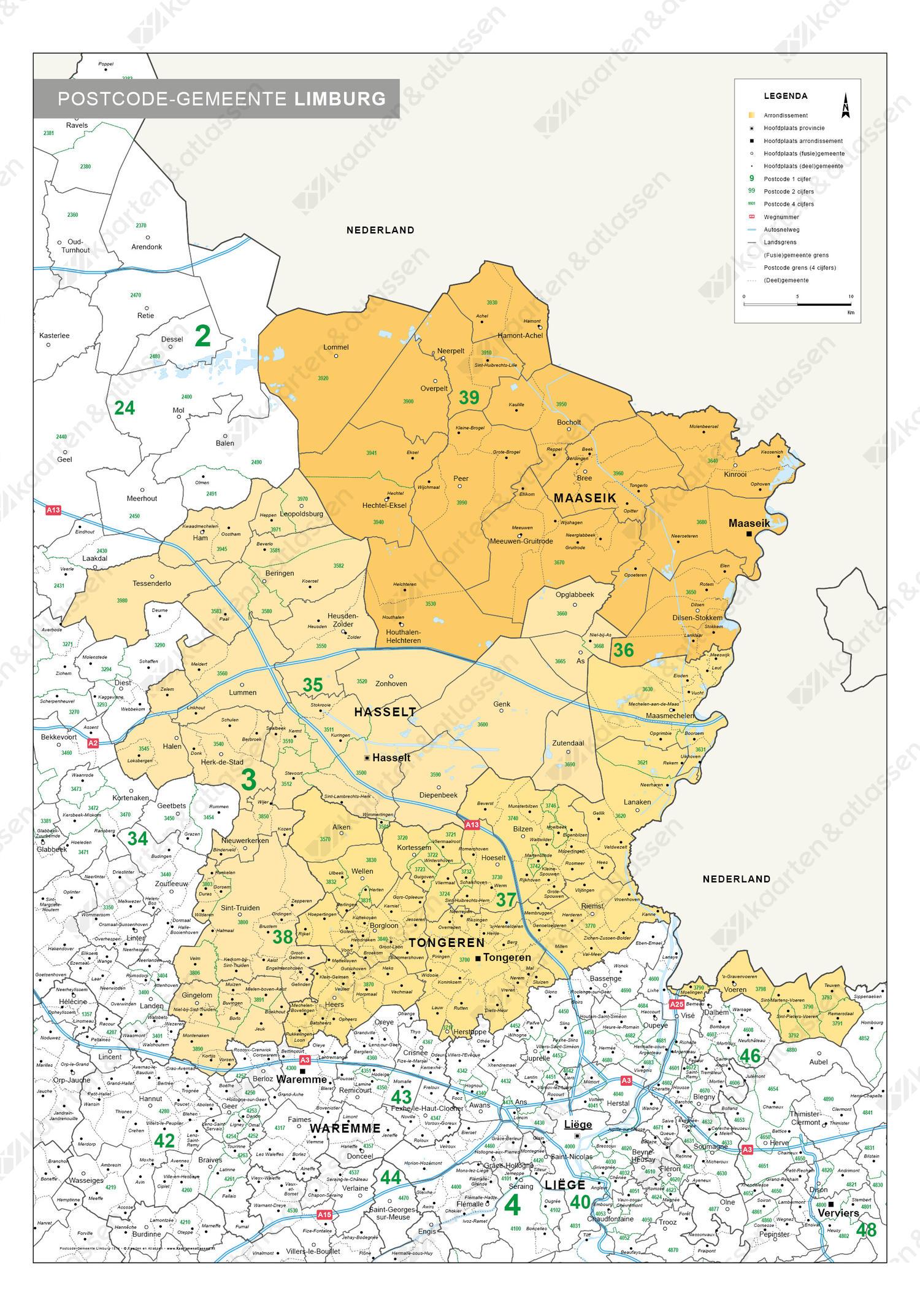 postcode/gemeente kaart Belgisch Limburg
