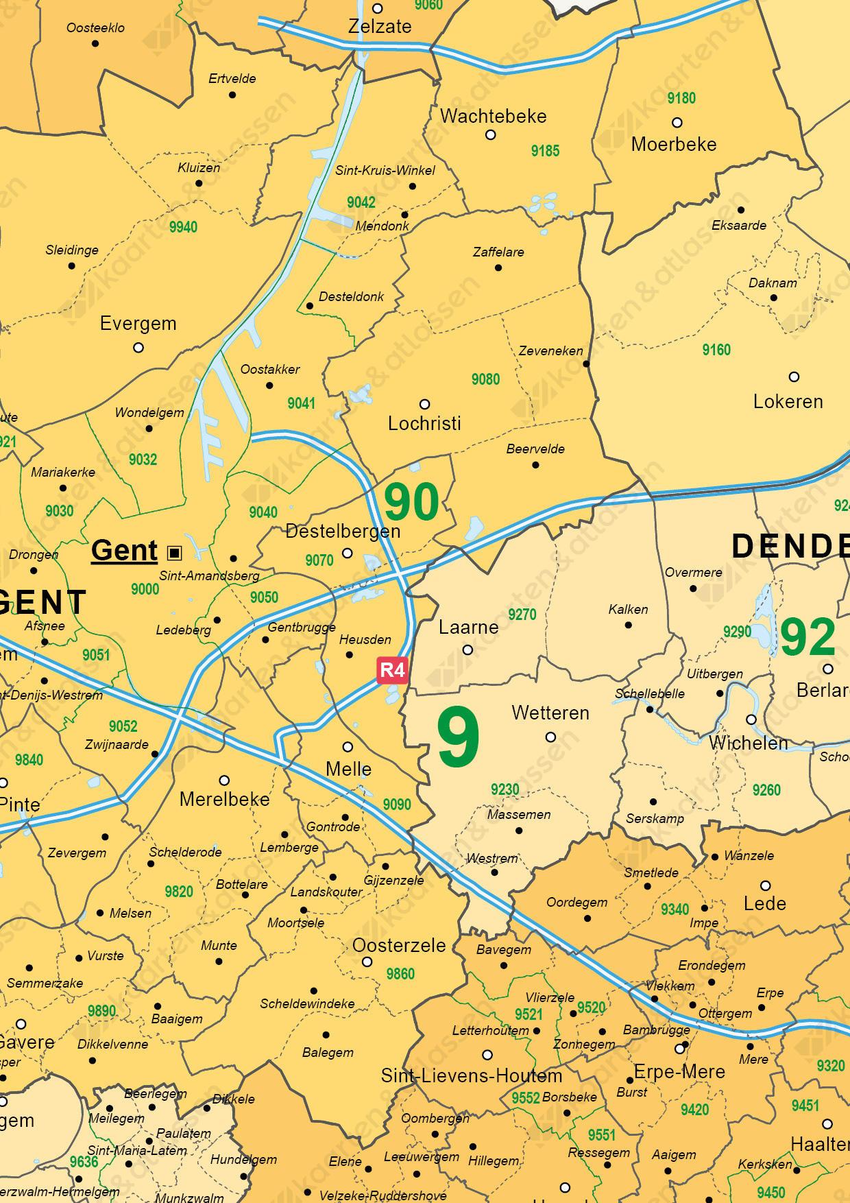 postcode/gemeente kaart Oost-Vlaanderen