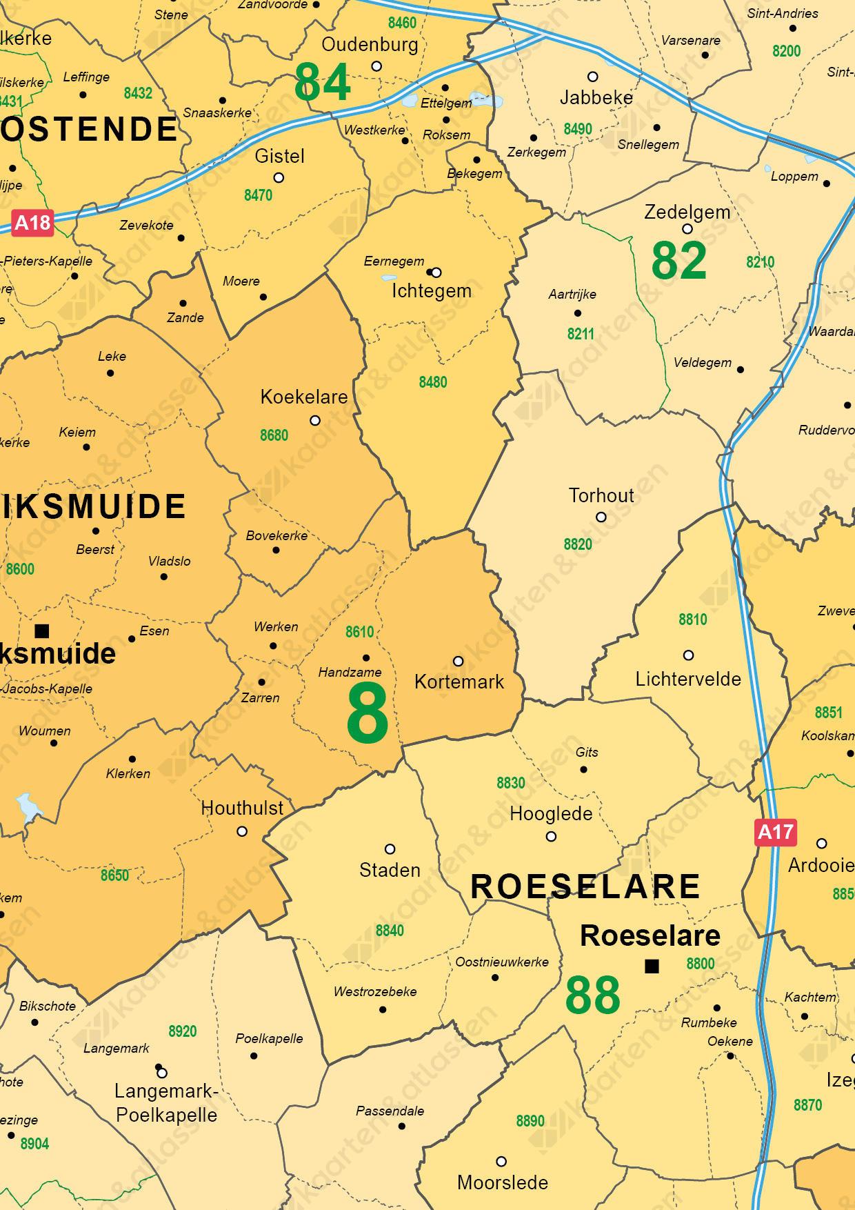 postcode/ gemeente kaart West-Vlaanderen