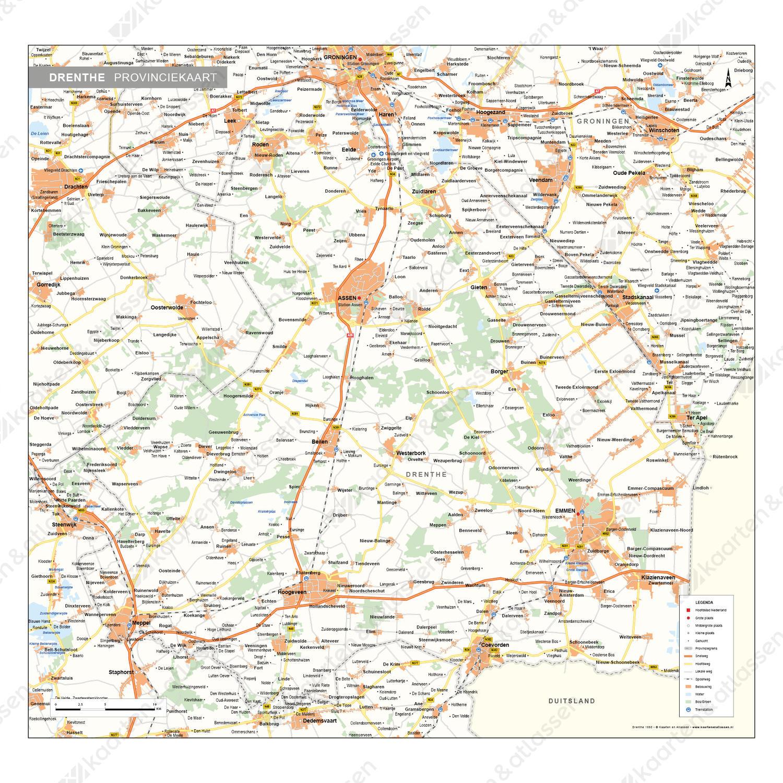 Drenthe Provinciekaart Staatkundig