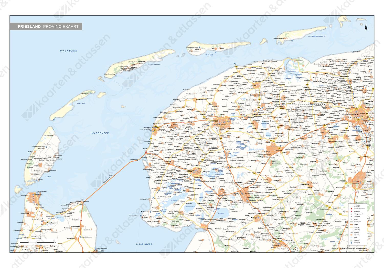 Friesland Provinciekaart Staatkundig