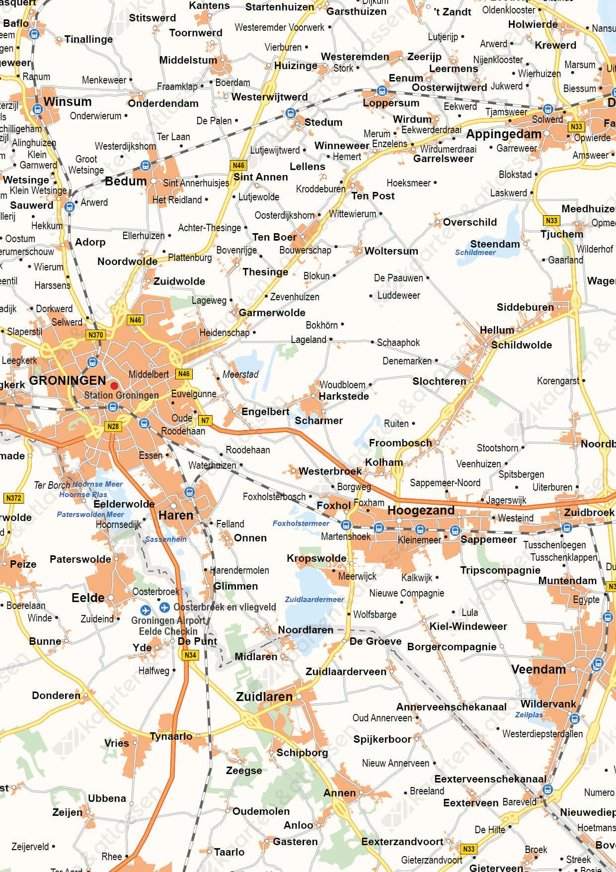 Groningen Provinciekaart Staatkundig