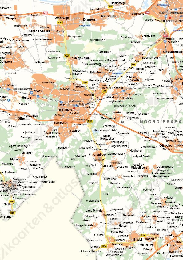 Noord-Brabant Provinciekaart Staatkundig