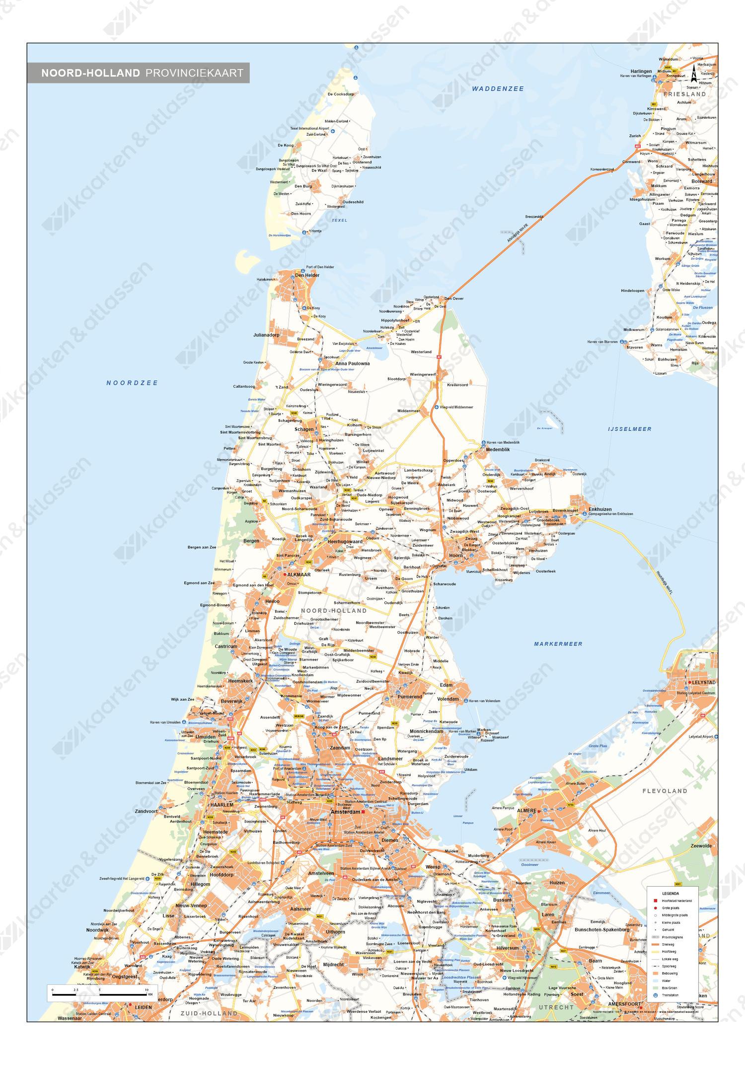 Noord-Holland Provinciekaart Staatkundig