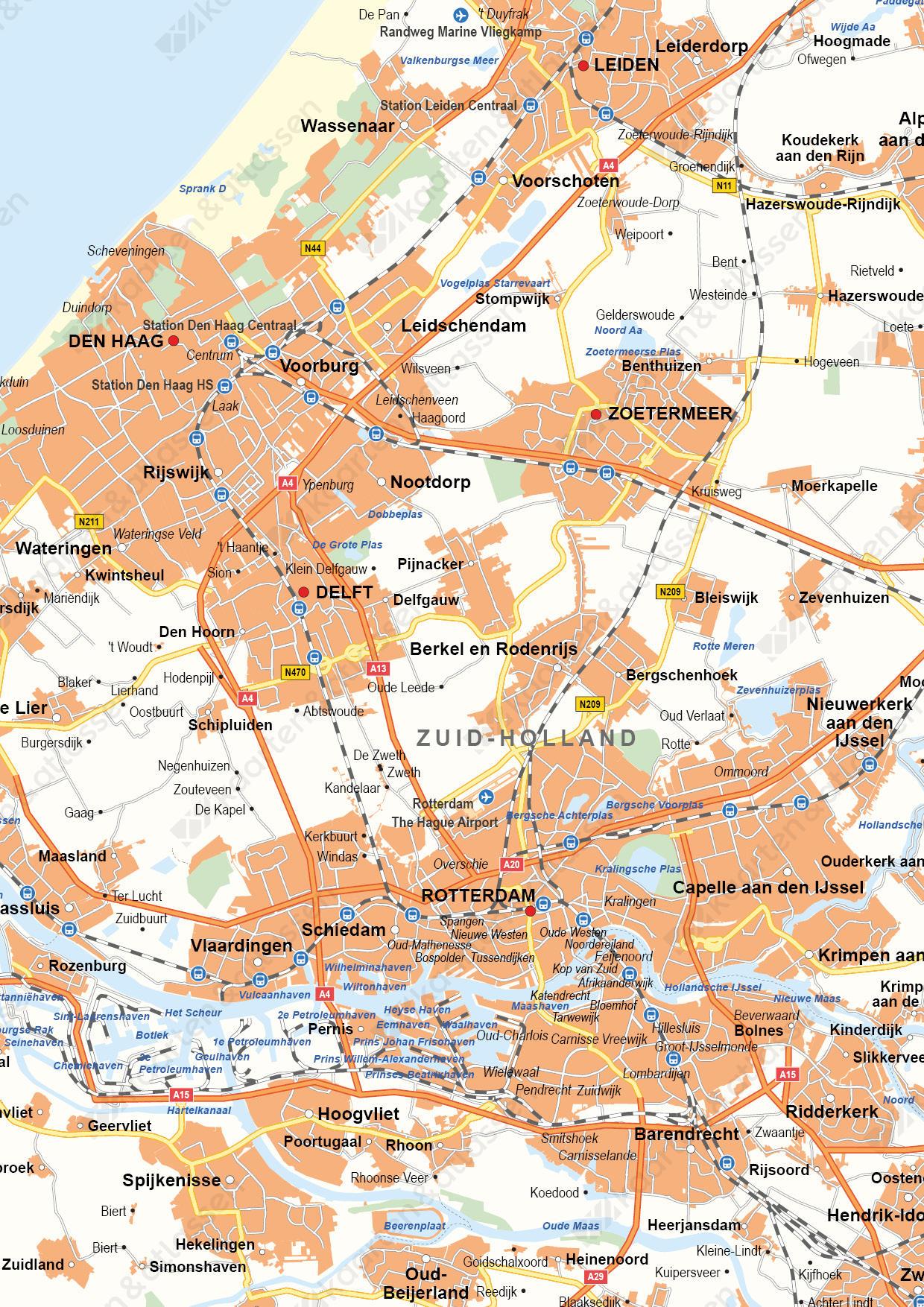 Zuid-Holland Digitale Provinciekaart Staatkundig