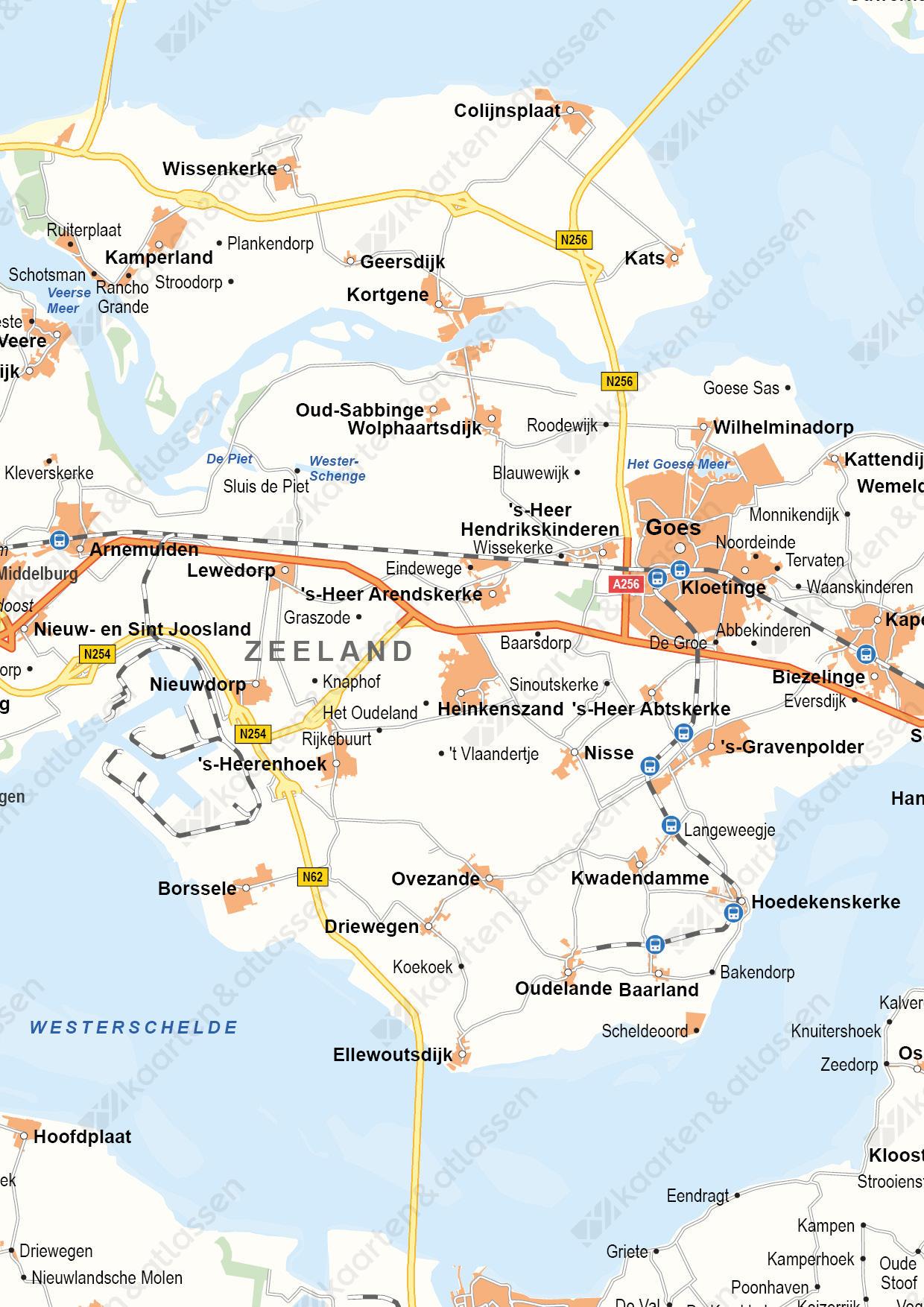 Zeeland Provinciekaart Staatkundig