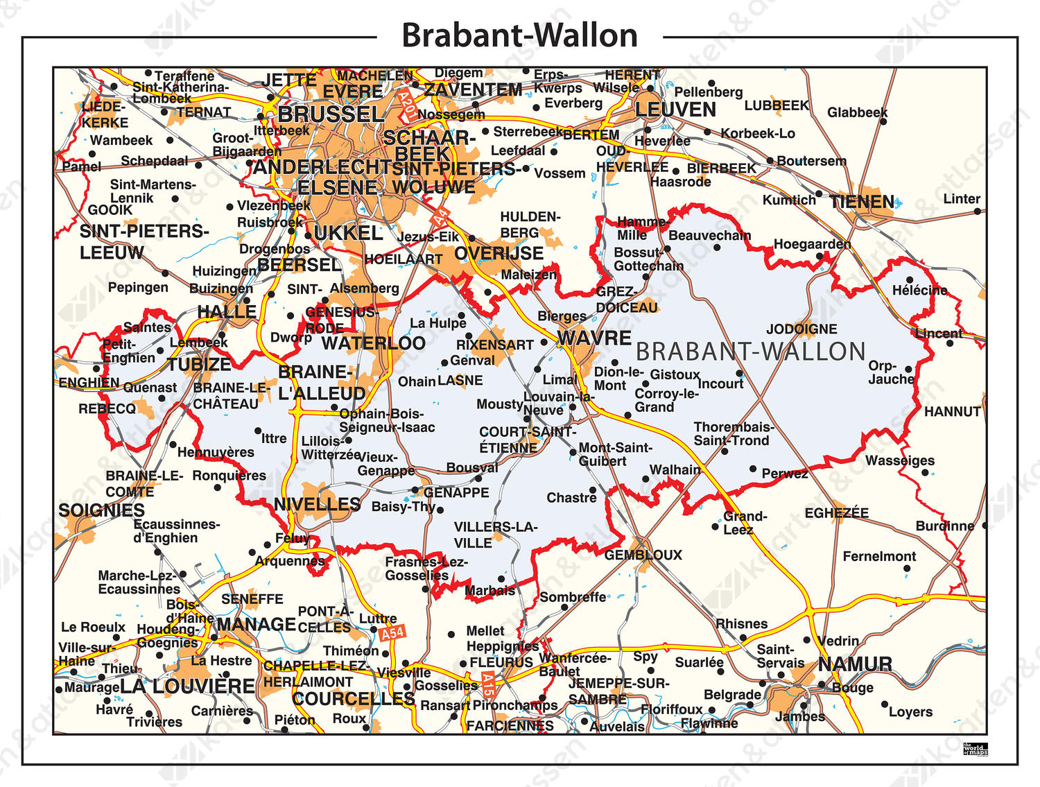 Digitale Provinciekaart Brabant-Wallon