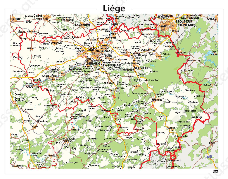Natuurkundige kaart Liège