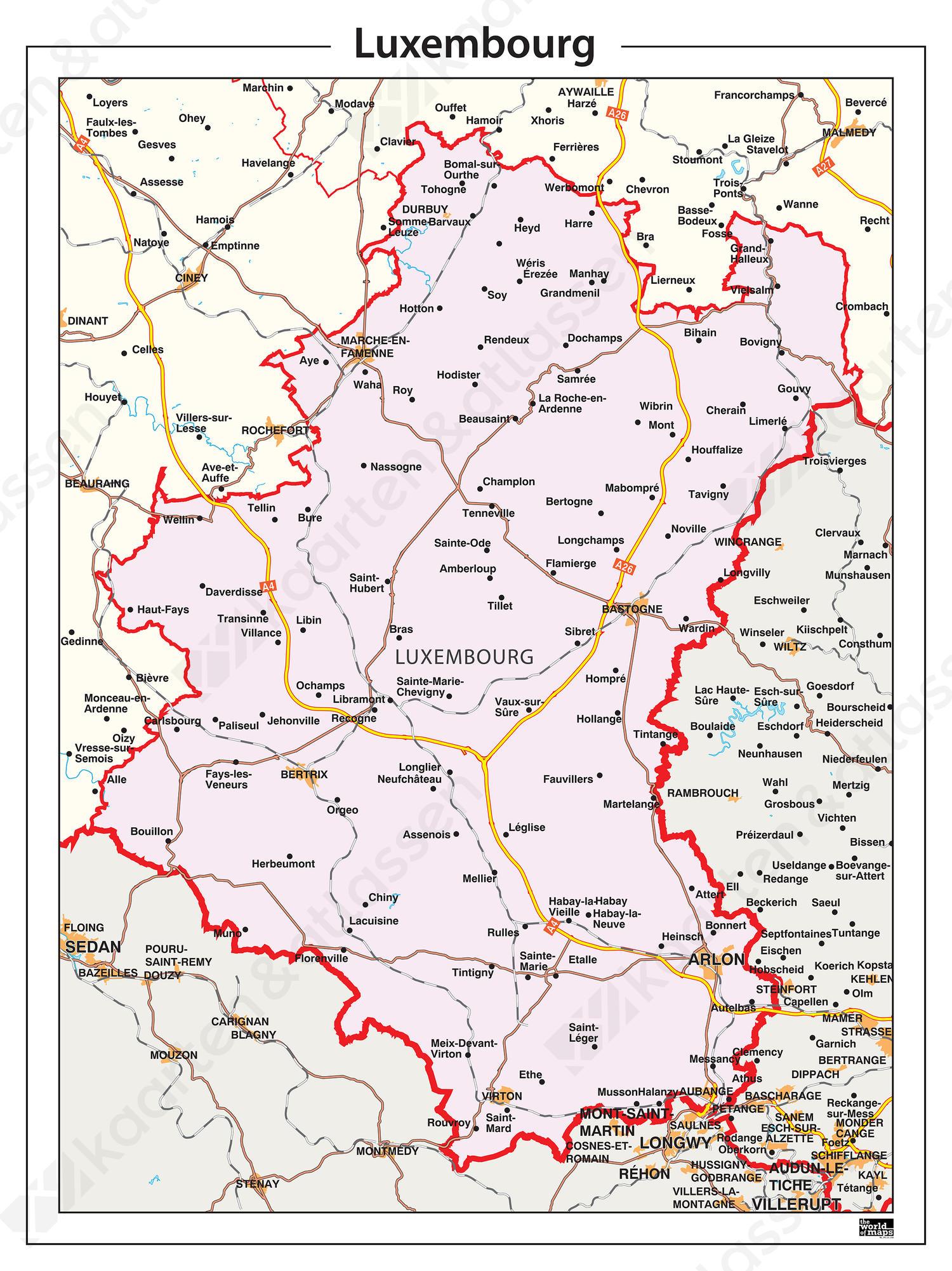Digitale Provinciekaart Luxembourg
