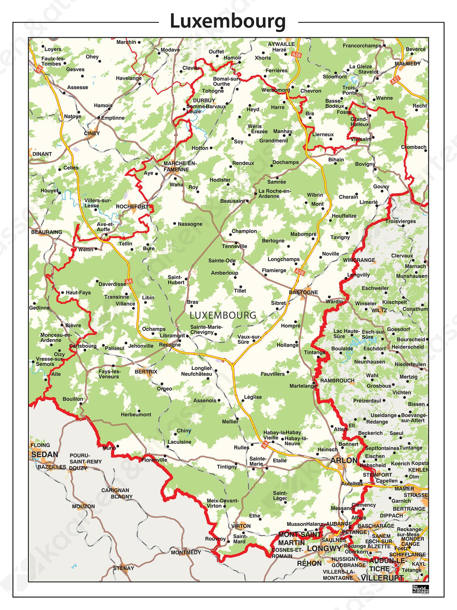 Natuurkundige Provinciekaart Luxembourg
