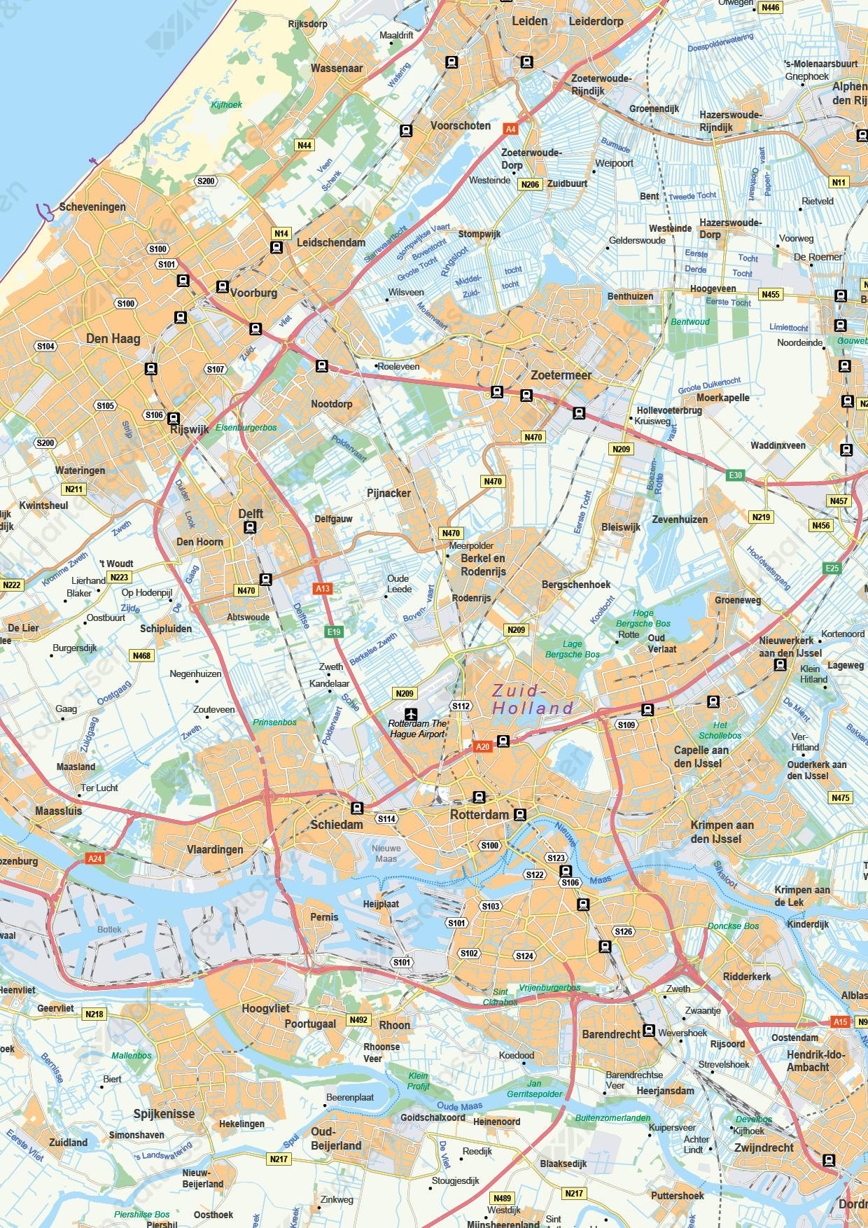 Provinciekaart Zuid-Holland