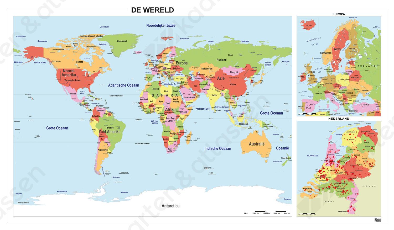 Schoolkaart Wereld/Europa/Nederland