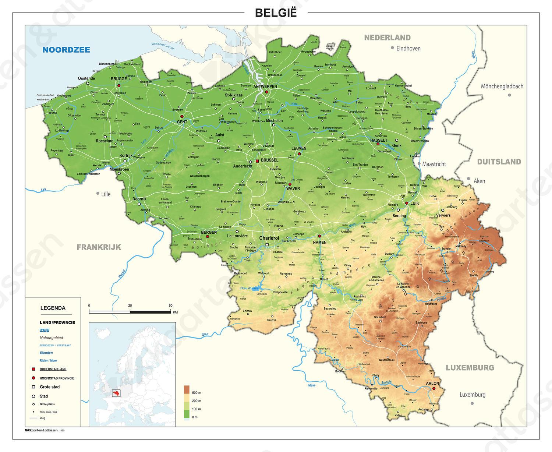 België kaart Natuurkundig