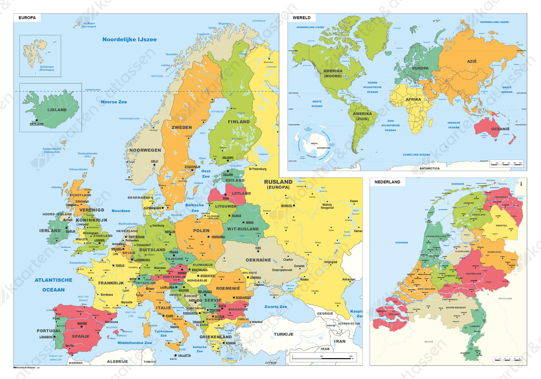 Schoolkaart Europa/Wereld/Nederland