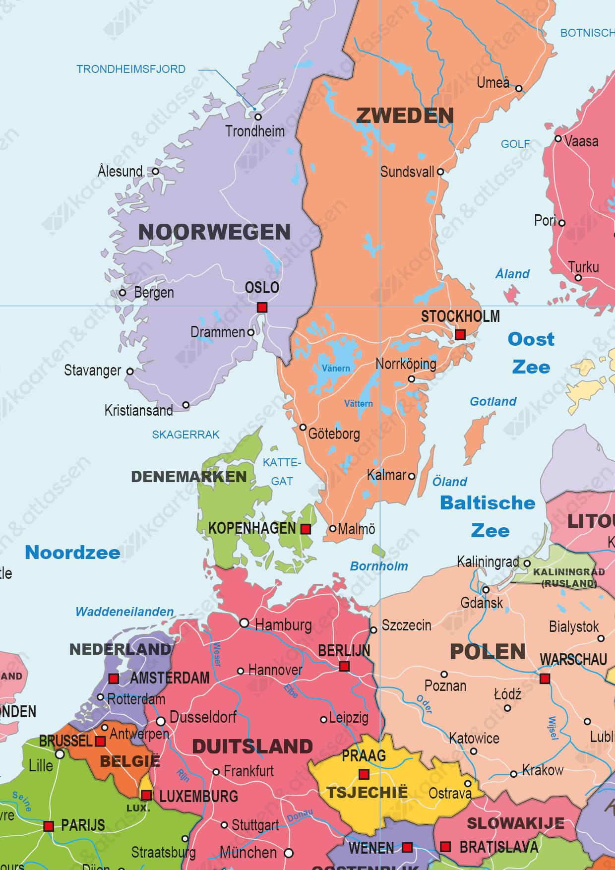 Gedetailleerde Schoolkaart Europa Staatkundig