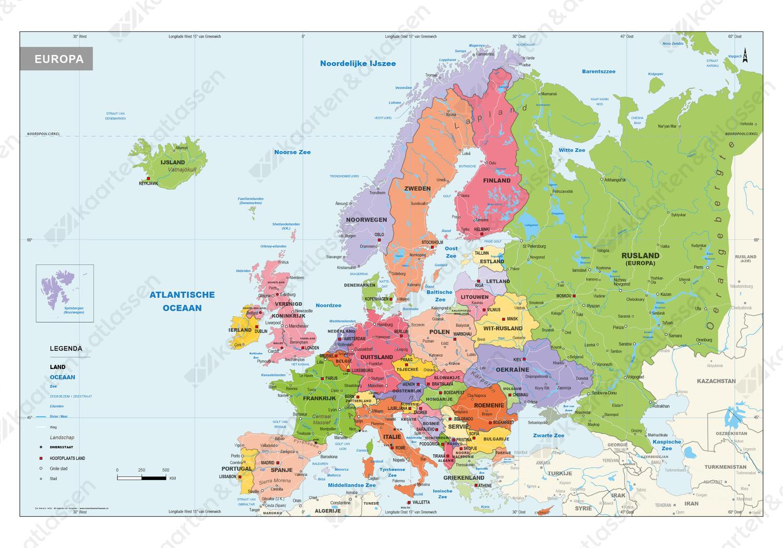 Digitale Gedetailleerde Schoolkaart Europa Staatkundig