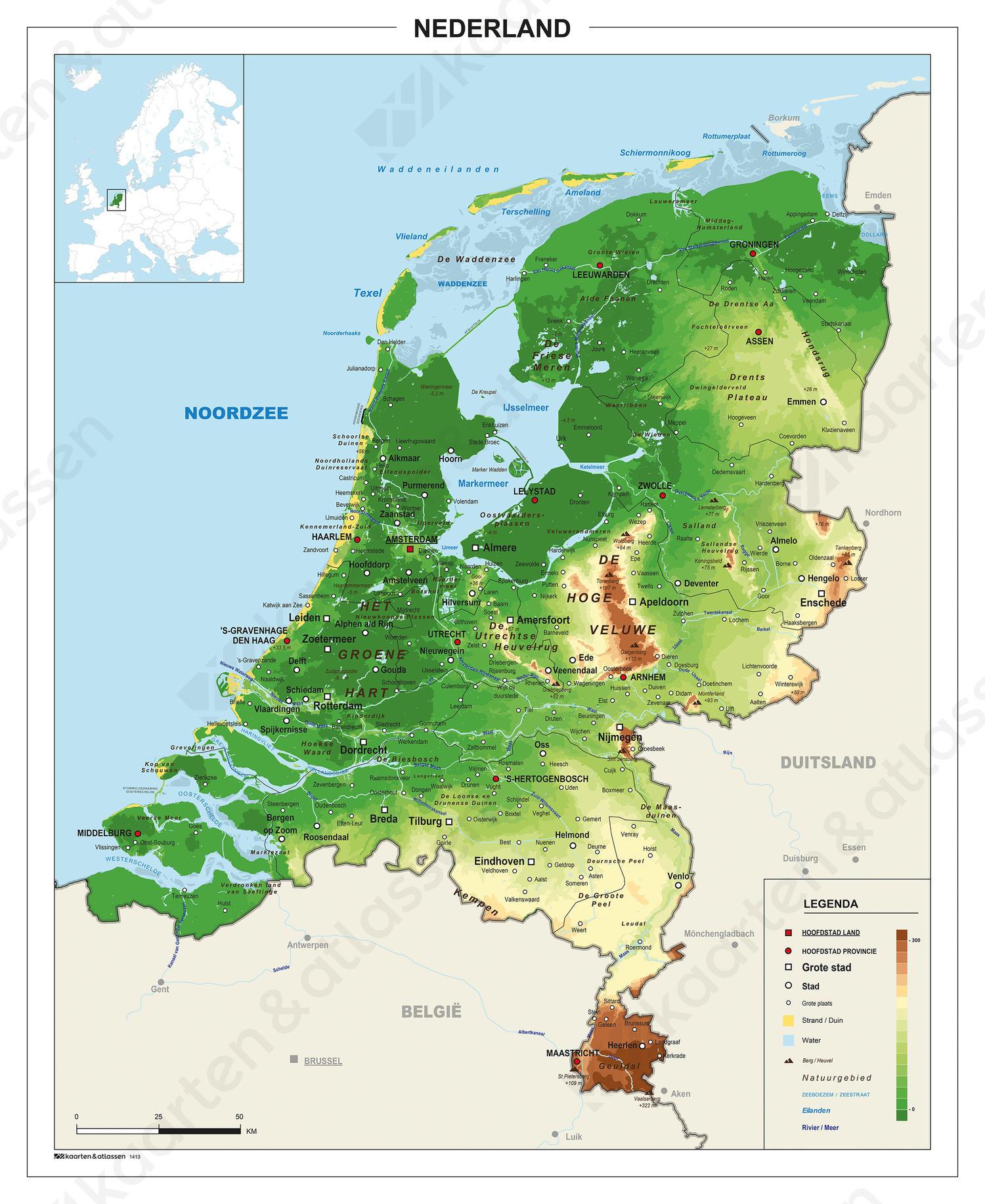 Natuurkundige Schoolkaart Nederland