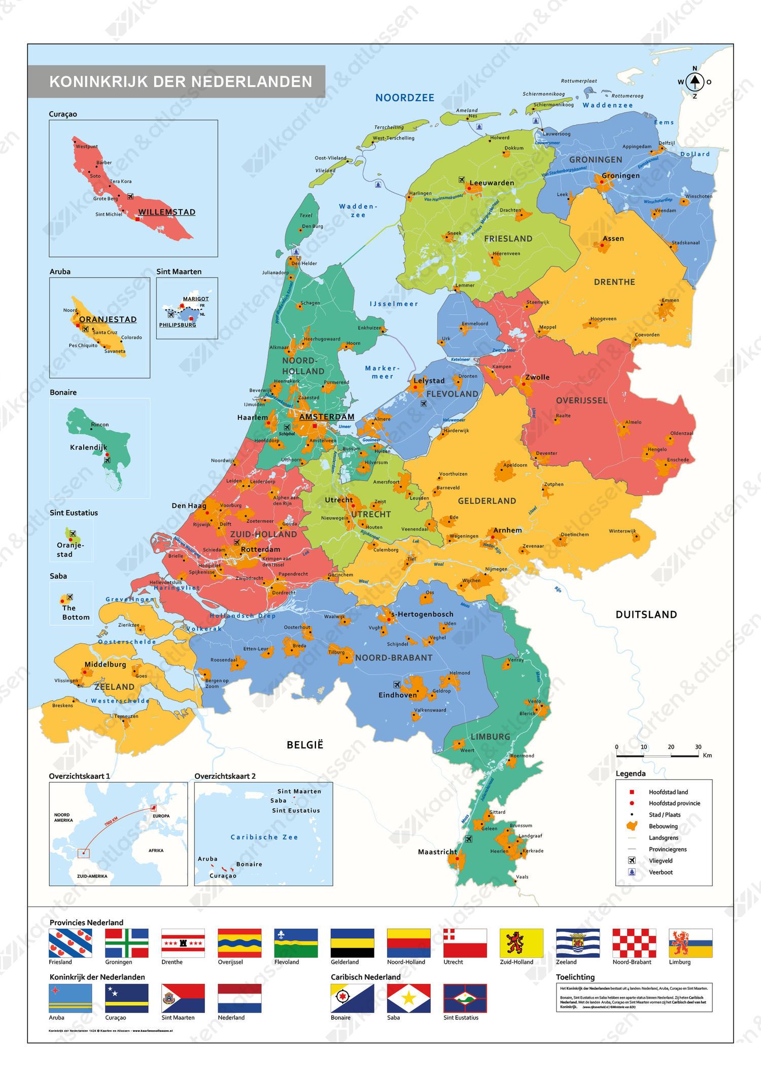 Schoolkaart Koninkrijk der Nederlanden