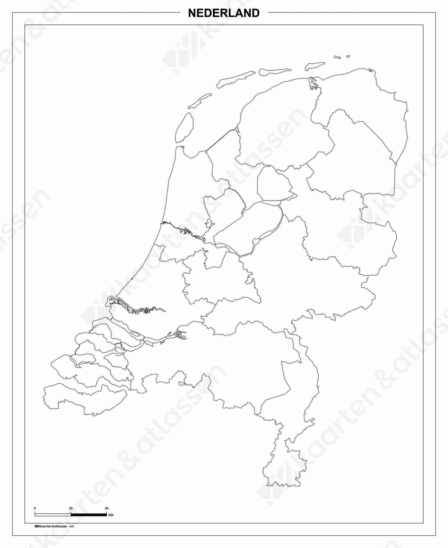 Blinde schoolkaart Nederland