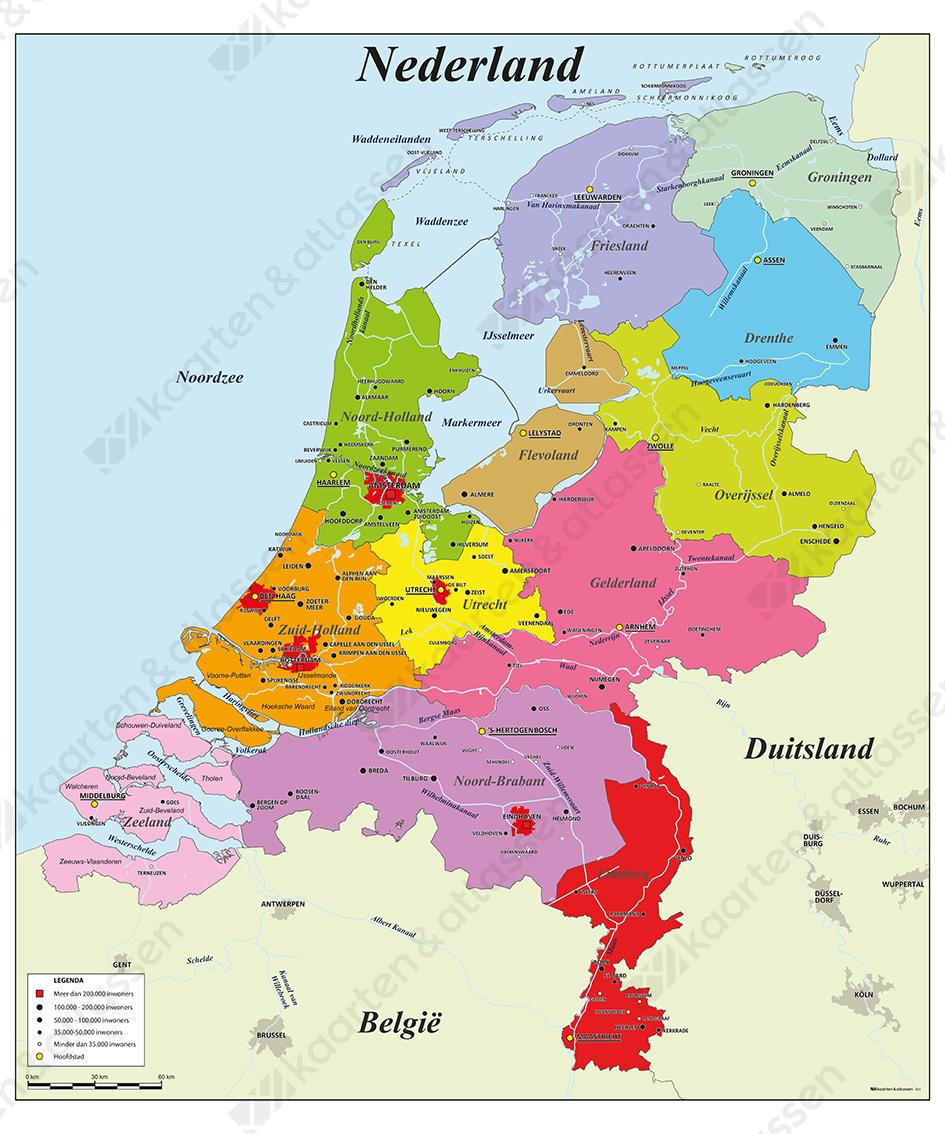 Schoolkaart van Nederland met frisse kleuren