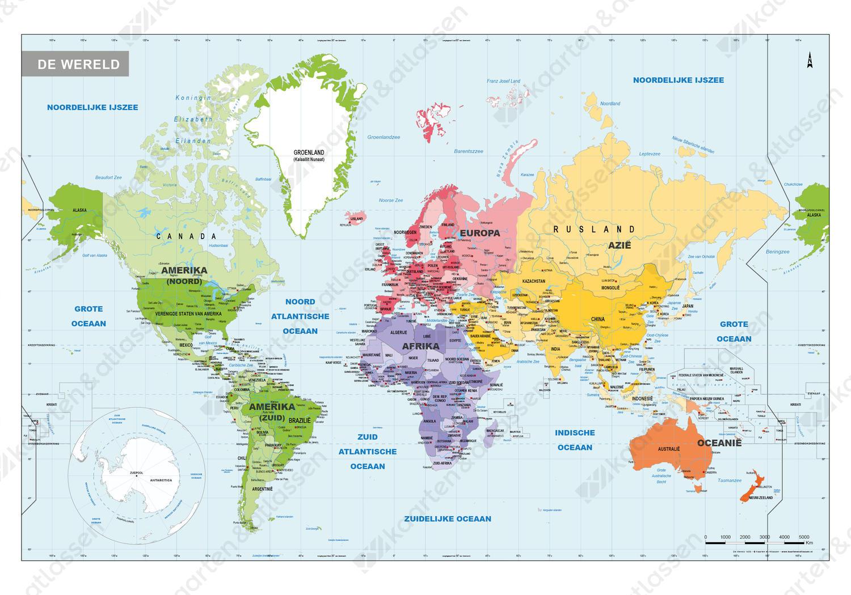 Staatkundige school wereldkaart gedetailleerd