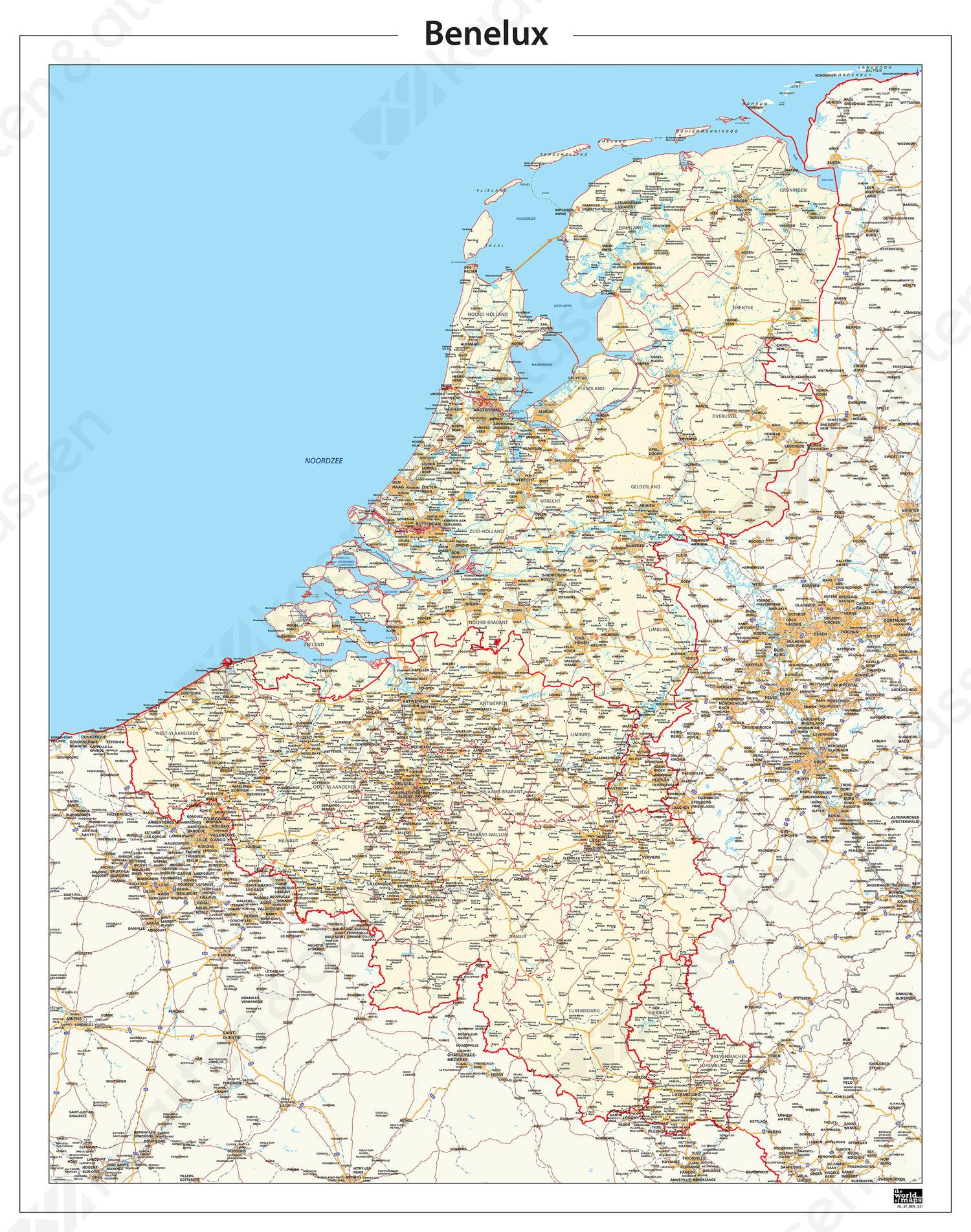 Beneluxkaart Gedetailleerd