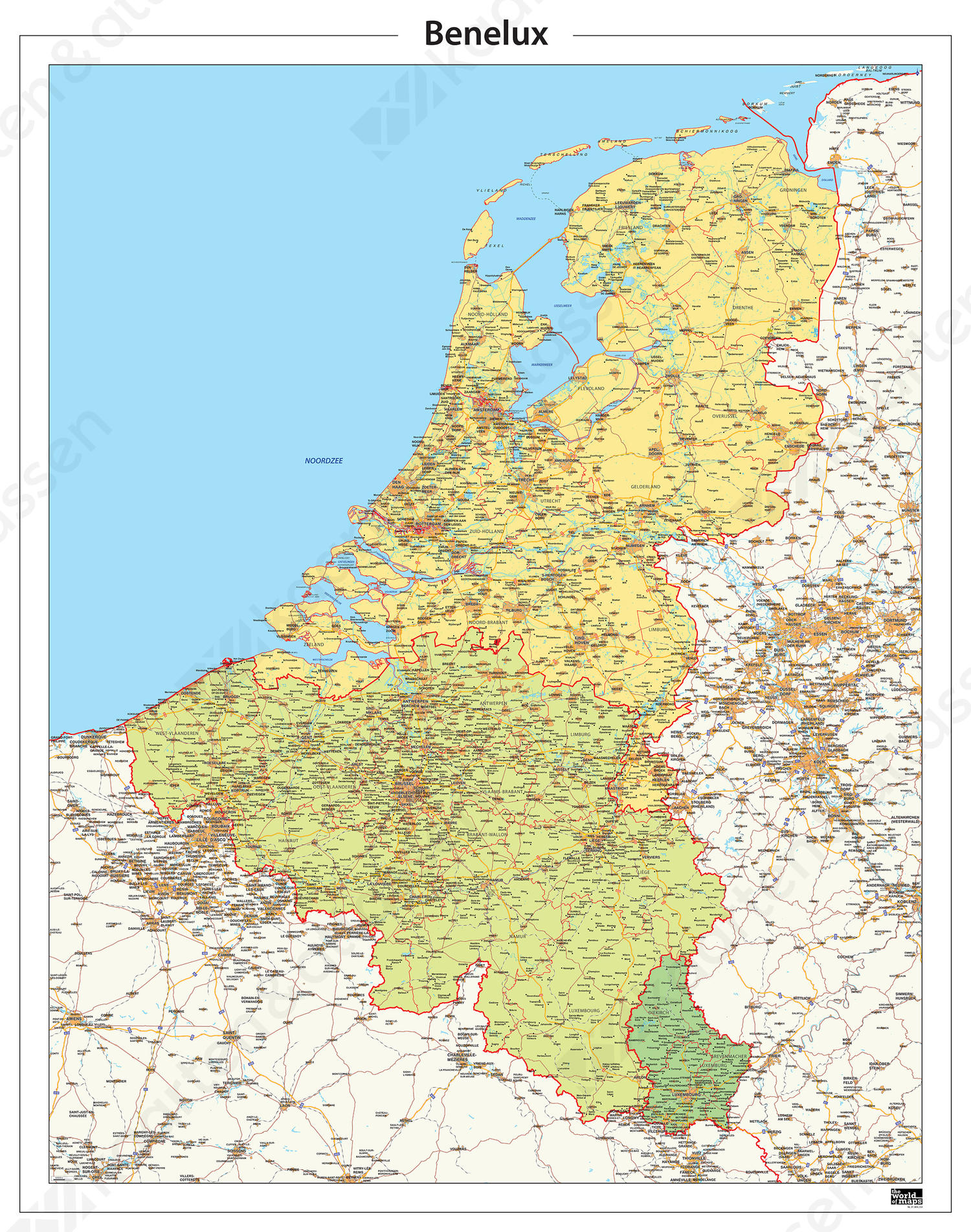 Digitale Beneluxkaart Gedetailleerd