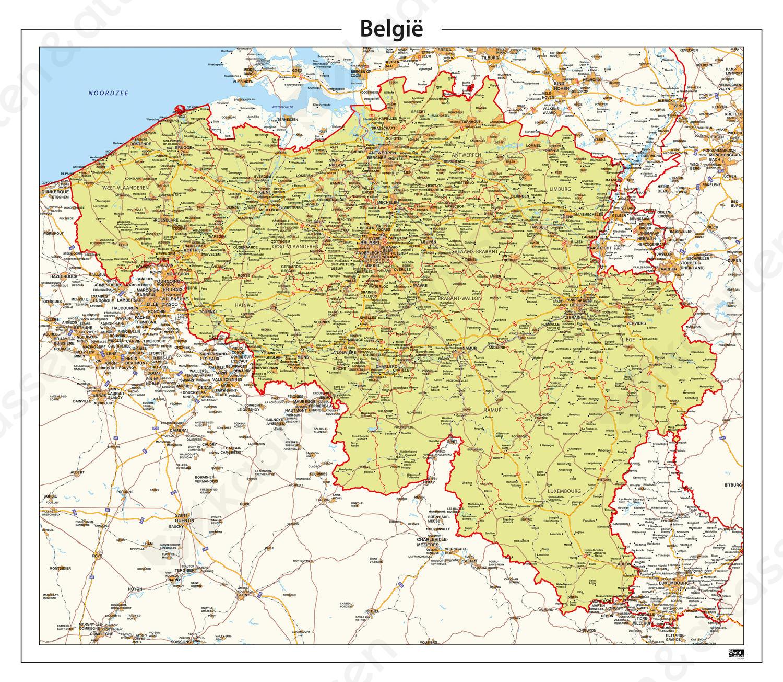 kaart van belgie met plaatsen Digitale België kaart Staatkundig 343 | Kaarten en Atlassen.nl