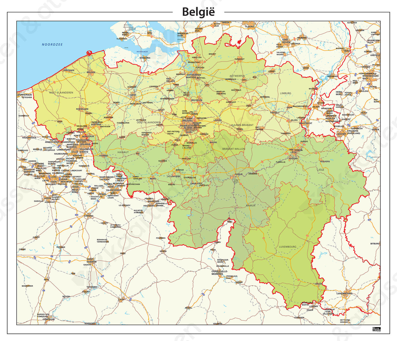 België kaart Staatkundig