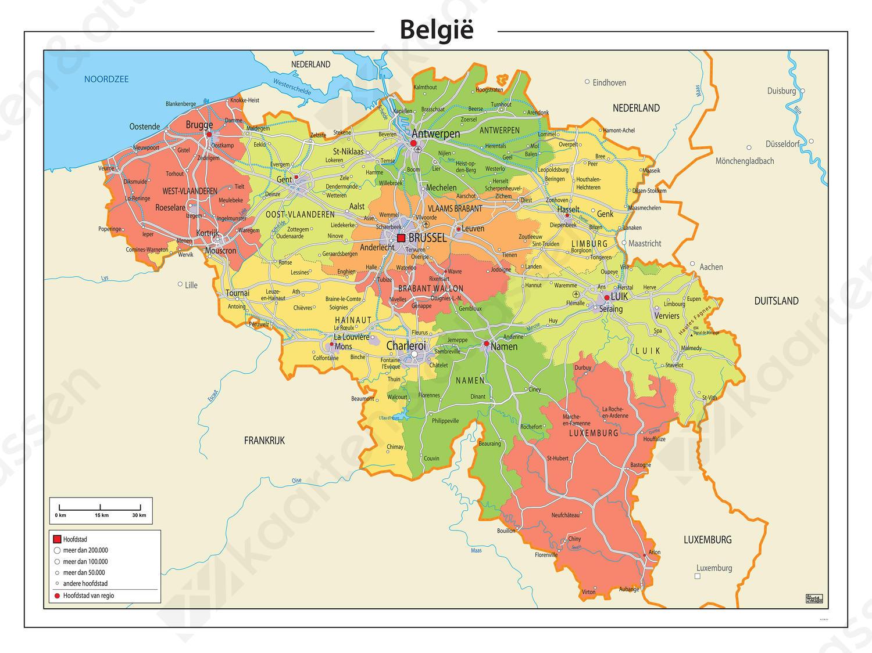staatkundige kaart België kaart Staatkundig 763 | Kaarten en Atlassen.nl