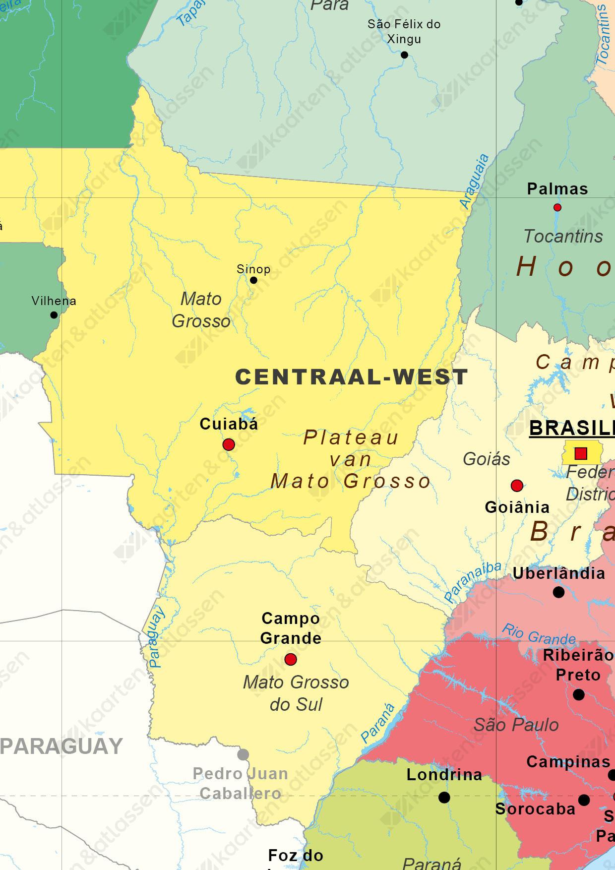 Digitale Staatkundige kaart Brazilië