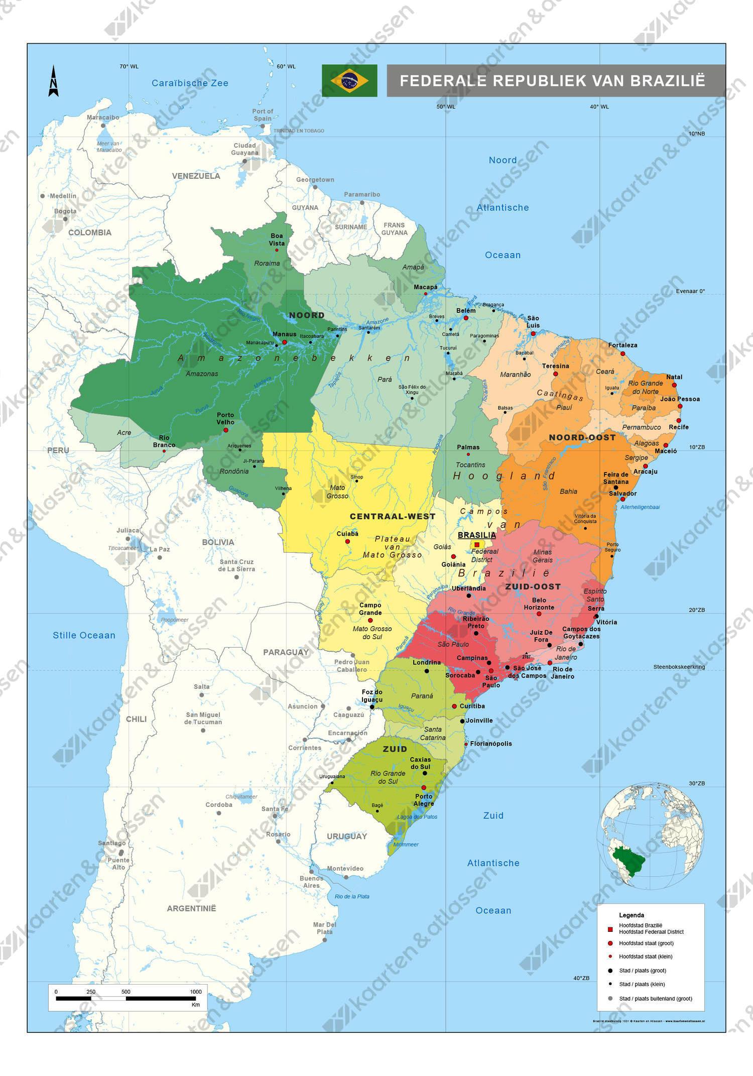 kaart Brazilië staatkundig digitaal