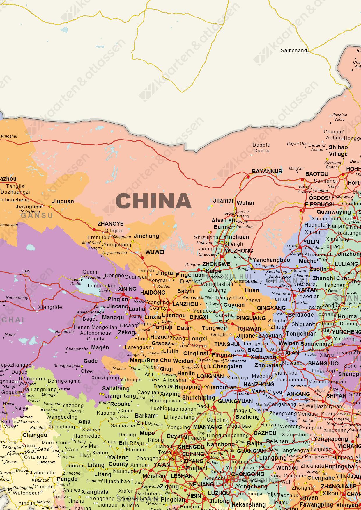 Landkaart van China