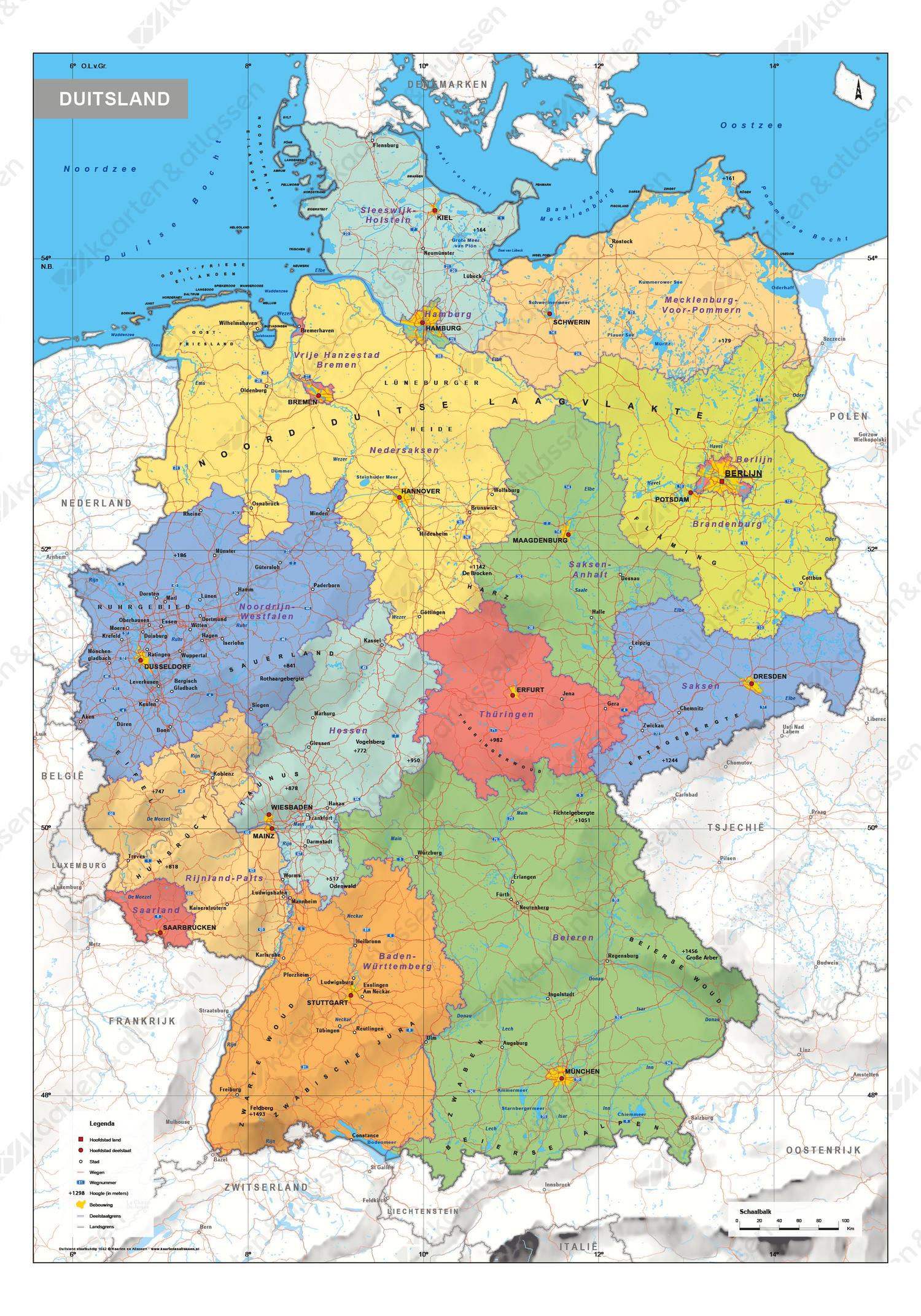 Digitale Duitsland Schoolkaart Staatkundig