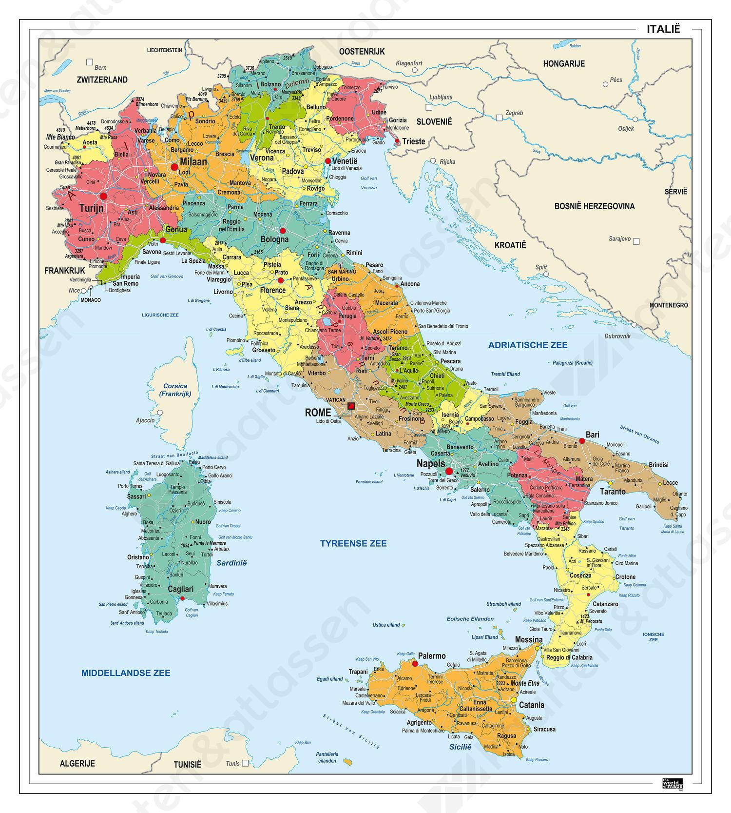 kaart italie noord Italië Kaart Staatkundig 760 | Kaarten en Atlassen.nl