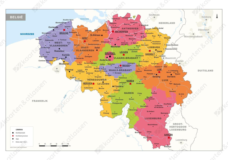 kaart belgie Digitale België kaart Staatkundig 1321 | Kaarten en Atlassen.nl
