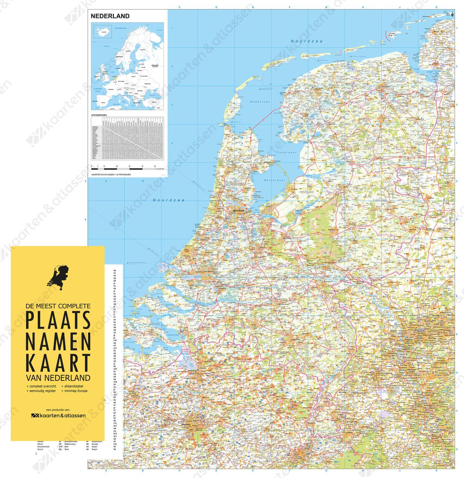 Digitale strakke (wegen)kaart Nederland