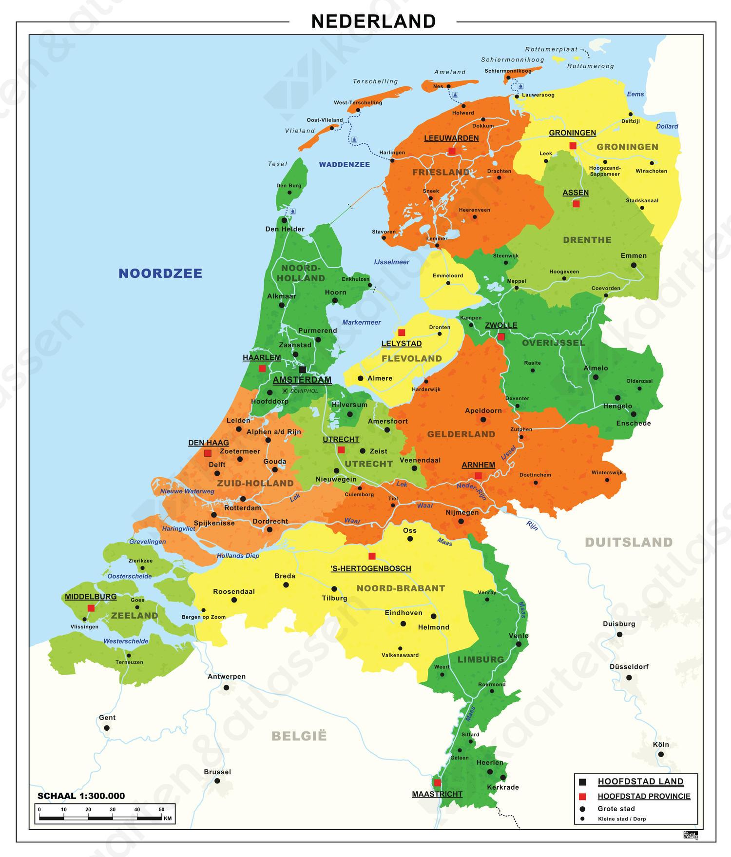 Eenvoudige kaart Nederland digitaal