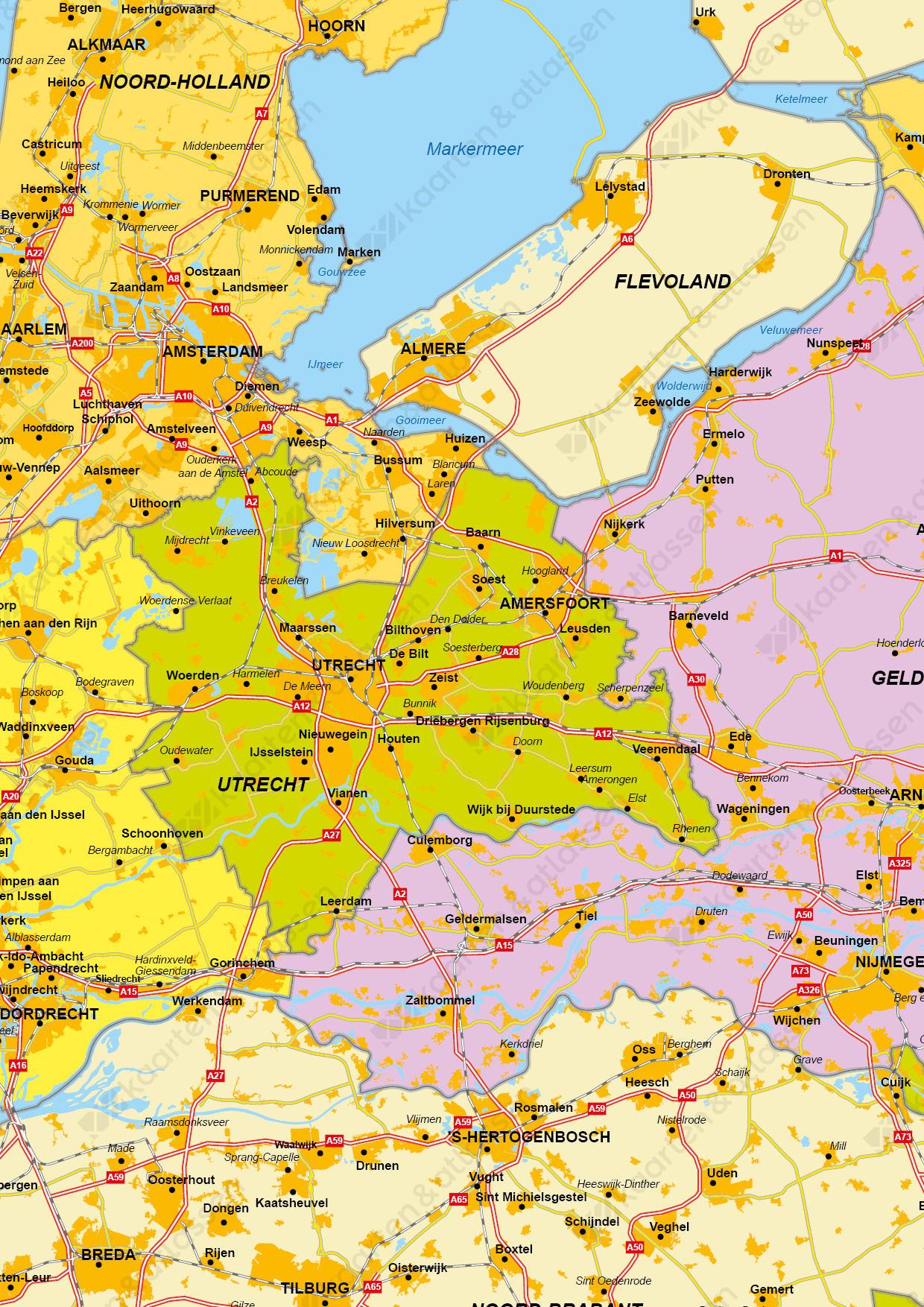 Digitale Gedetailleerde kaart van Nederland