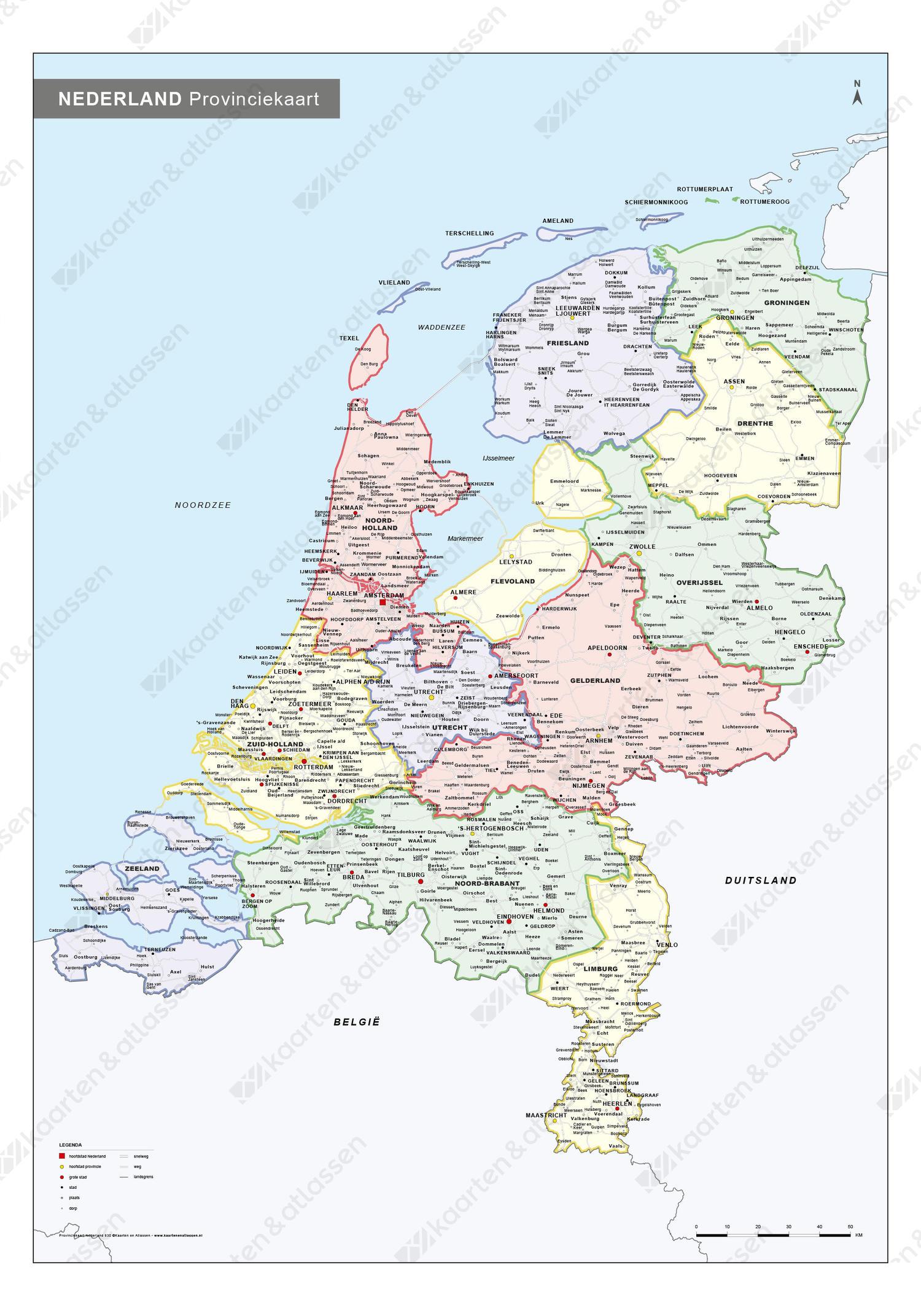 Whiteboard Frisse Landkaart van Nederland